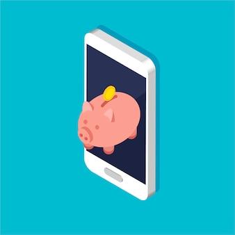 トレンディなアイソメトリックスタイルの金貨と貯金箱。スマートフォンにお金を積み上げるか積み重ねます。お使いの携帯電話でのオンライン預金。