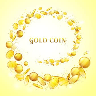 Gold coins background illustration. golden money cash splash or splatter swirl