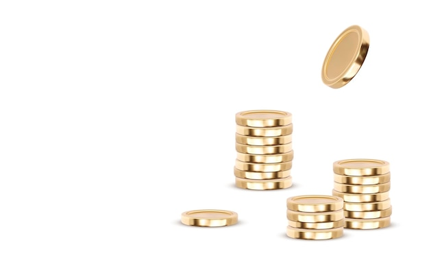 Gold coins cash money in piles, isolated on white background,  illustration