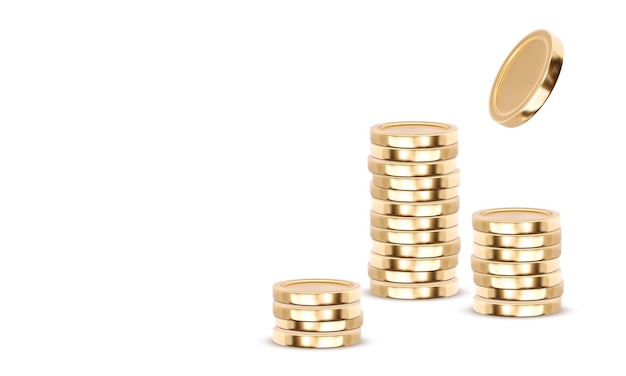 Gold coins cash money in piles, isolated on white transparent background.  illustration.