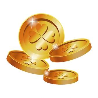 Золотые монеты clover st patrick day
