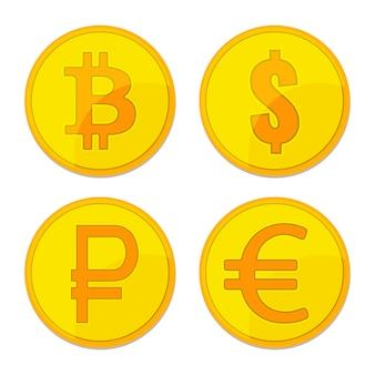 Золотые монеты разной валюты. биткойн, доллар, евро, рубль, биткойн знаки для бизнеса, финансов, обмен денег тема.