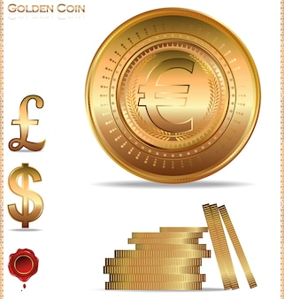 Gold coins. dollar, euro and pound