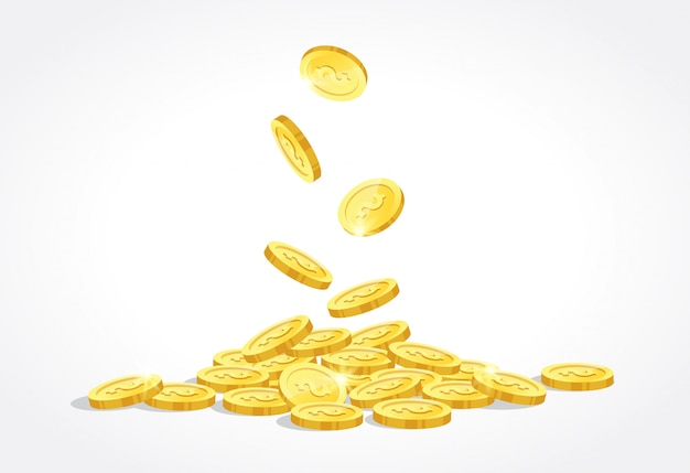 Gold coins drop vector illustration