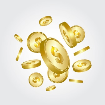 Gold coins falling.