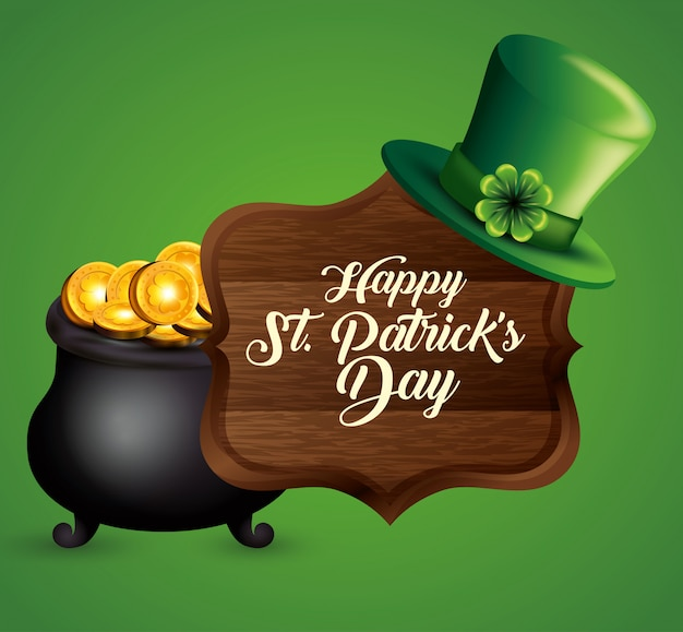 Gold coins inside cauldron and wood emblem for st patrick's day