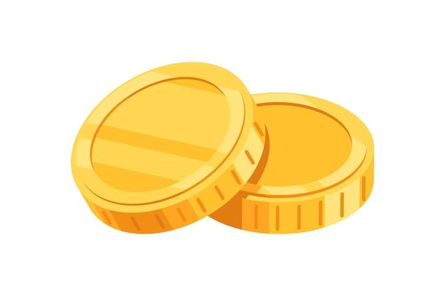 Золотые монеты, изолированные на белом фоне
