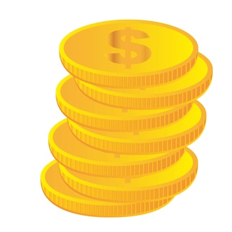 Gold coins isolated over white background vector