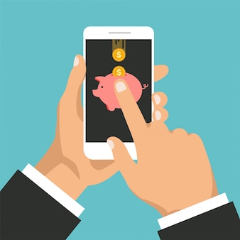 Gold coins and piggy bank on a phone display. mobile banking concept. cashback or money refund.
