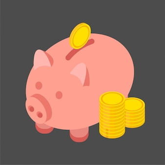 Gold coins and piggy bank in a trendy isometric style. illustration isolated on black background.