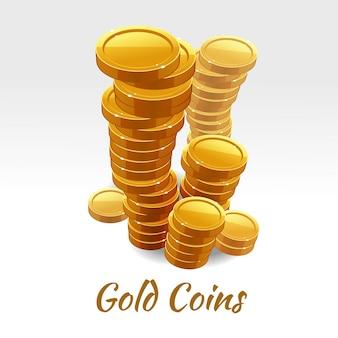 Mucchio di monete d'oro su bianco