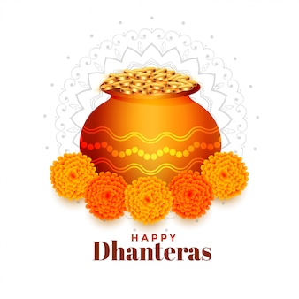 Gold coins pot with marigold flower dhanteras background