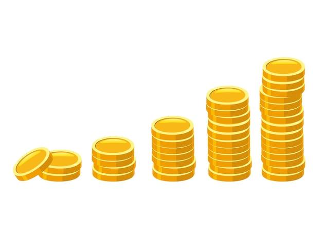 金貨スタック積み重ねられた黄金のお金のアイコンの山
