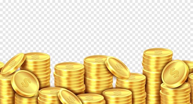 Gold coins stack. realistic golden coin money pile, stacked dollar lots pile cash bonus profits casino market income banner.