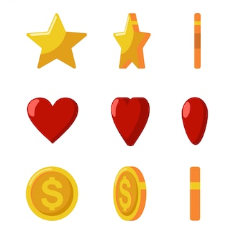 Gold coins, stars and red hearts flips.  game and web icons set isolated on a white background.