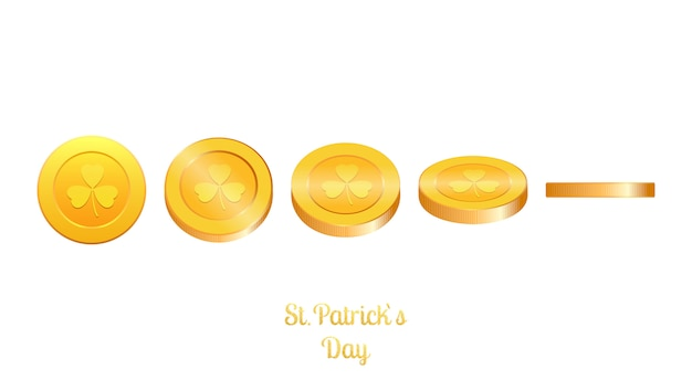 Gold coins with clover. saint patrick`s day vector coins.