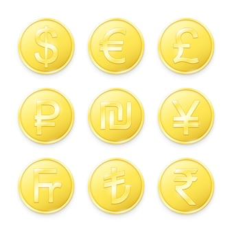 Gold coins with symbols of top world currencies