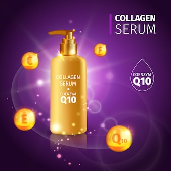 Gold collagen serum tubes with realistic tube of cream with vitamins