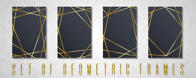 Gold collection of geometrical polyhedron.