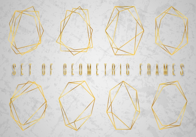 Gold collection of geometrical polyhedron