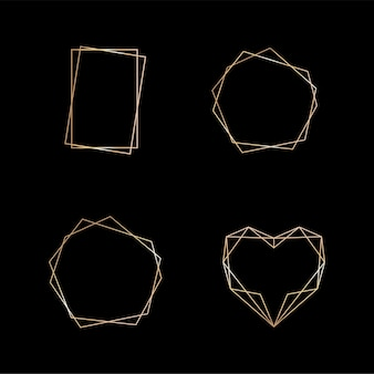 Золотая коллекция геометрической рамки декоративного элемента для приглашения карты в стиле арт-деко на свадьбу ...