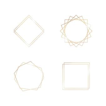 結婚式のカード招待アールデコスタイルの幾何学的なフレーム装飾要素のゴールドコレクション...