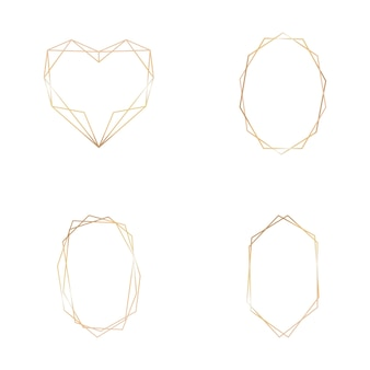 白い背景の上の幾何学的なフレームのゴールドコレクション。ロゴ、カード、招待状の装飾要素。豪華なテンプレート、結婚式の招待状のアールデコスタイル。