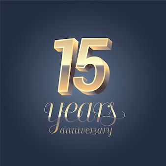Gold color graphic design element for 15 years anniversary birthday banner