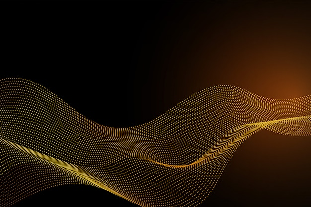 Gold color line wave particles abstract background