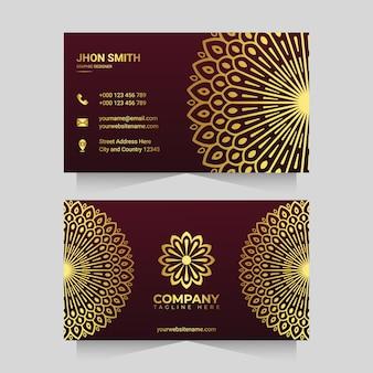 Золотой цвет роскошный шаблон визитной карточки мандалы