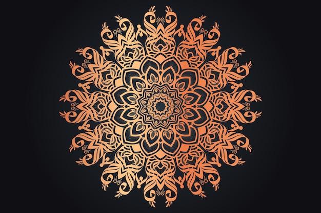 Золотой цвет роскошный орнаментальный дизайн мандалы