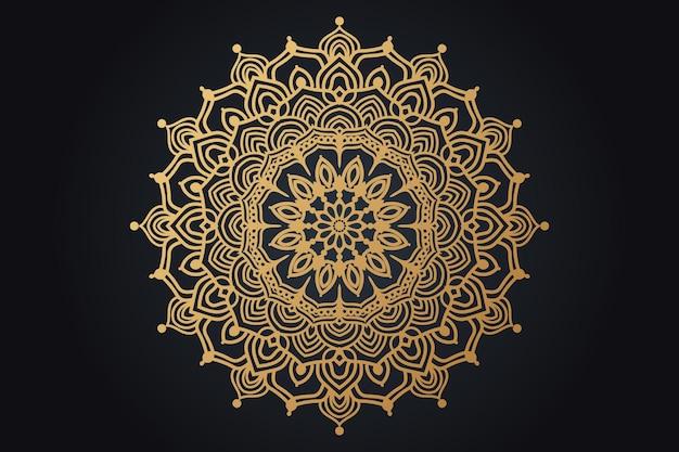 ゴールドカラーの豪華な装飾用曼荼羅デザイン