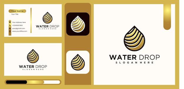 金色のアクア線形ロゴデザインモノライン水ロゴ豪華で創造的な水ロゴベクトル