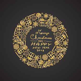 Gold-colored christmas circular decoration with hand drawn motifs. included merry christma
