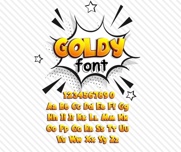 Золотой комикс поп-арт супергерой шрифт жирный шрифт комиксов