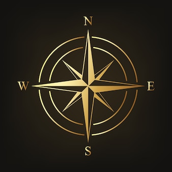 Gold compass icon isolated on dark