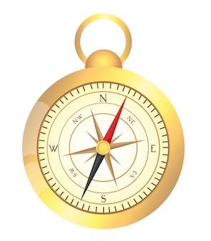 Золотой компас, изолированных на белом фоне