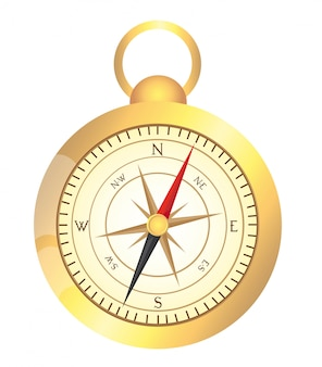 Gold compass isolated over white background vector illustration