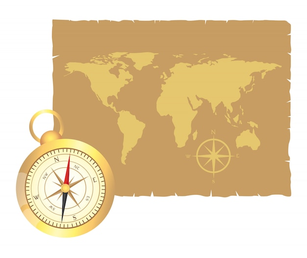 Gold compass and old map over old paper vector illustration