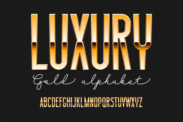 Gold condensed modern alphabet. sans serif metal font. technology typography golden letters.