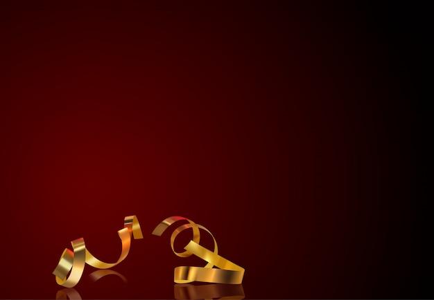 金の紙吹雪と赤の背景