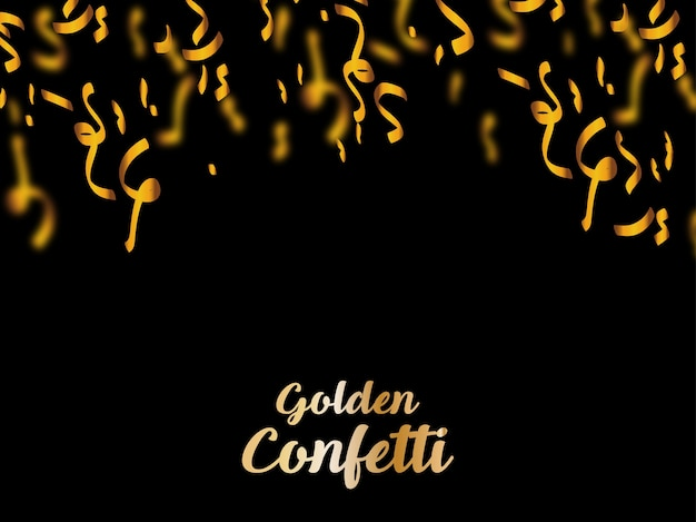 Gold confetti on black background