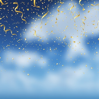 Gold confetti on blue sky background