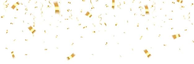 金の紙吹雪。ゴールドカラーの光沢のあるキラキラ紙吹雪に落ちるお祝いのカーニバル。