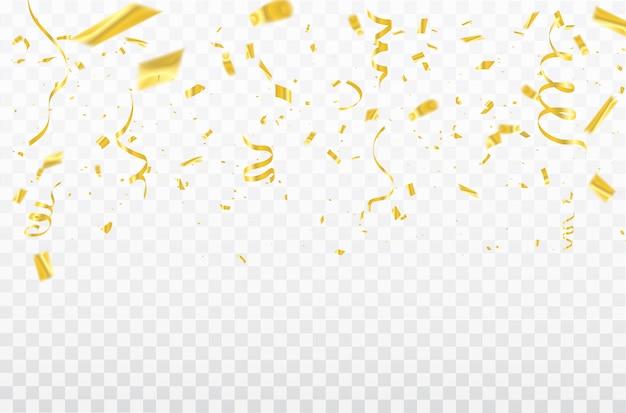 Gold confetti celebration carnival ribbons.