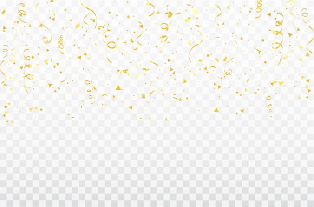 Gold confetti celebration carnival ribbons.