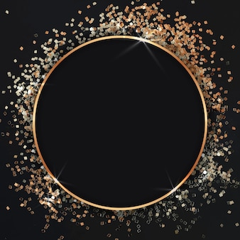Gold confetti frame celebration background
