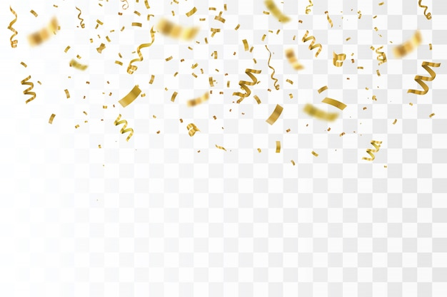 Gold confetti isolated.