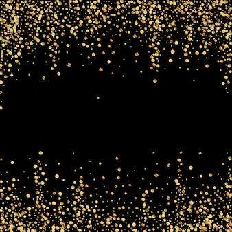 ゴールドの紙吹雪高級スパークリング紙吹雪。黒の背景に散在する小さな金の粒子。愛らしいお祭りオーバーレイテンプレート。