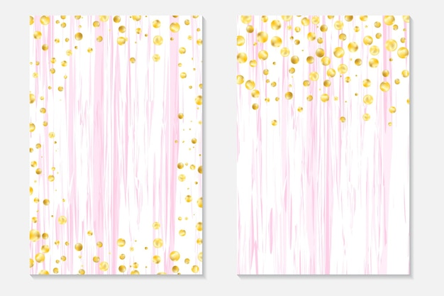 Gold confetti on shabby background. cover set with gold dots and sequins. invitation cards for party, flyer.